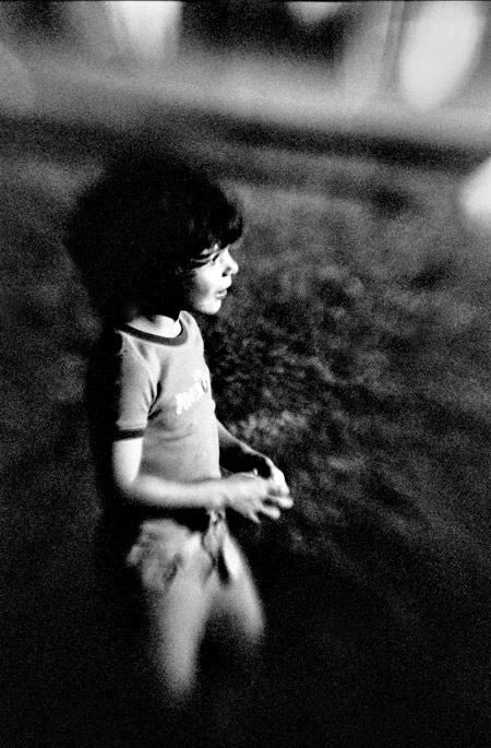 photo of a young boy watching the fireworks