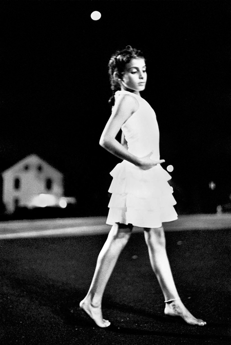black and white photo of a girl dancing in the moolight, fine art portraiture, Huntington, NY, Long Island photographer